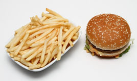 Double burger and fries Royalty Free Stock Photo