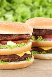 Double burger hamburger closeup close up beef tomatoes lettuce c Royalty Free Stock Photos