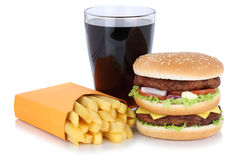 Double burger hamburger and french fries menu meal combo cola dr. Ink fast food isolated on a white background Stock Images