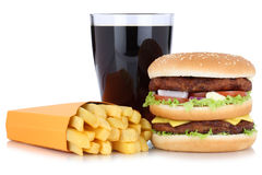 Double burger hamburger and french fries menu meal combo cola  Royalty Free Stock Photography