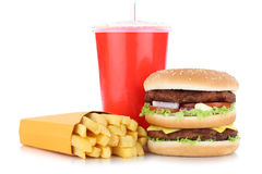 Double burger hamburger and fries menu meal combo drink isolated Royalty Free Stock Images