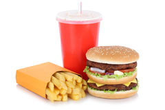 Double burger hamburger and fries menu meal drink isolated. On a white background Royalty Free Stock Photography