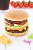 Double burger hamburger menu meal cola drink Stock Photos