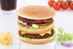 Double burger hamburger menu meal combo drink Stock Photos