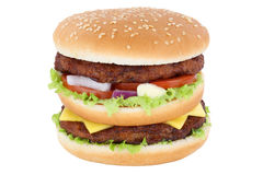 Double burger hamburger tomatoes lettuce cheese isolated Royalty Free Stock Photo