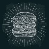 Double burger include cutlet, tomato, cucumber and salad with rays. Vector white vintage engraving illustration on dark chalkboard. For poster and menu Stock Images