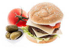Double Burger with ingredients Stock Image