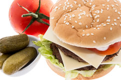Double Burger with ingredients Royalty Free Stock Photo