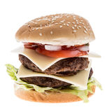 Double Burger isolated on white Royalty Free Stock Image