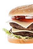 Double Burger isolated on white Stock Photography
