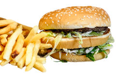 Double Burger with - unhealthy eating fast food. Stock Photos