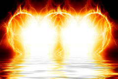 Double Burning Hearts Royalty Free Stock Images