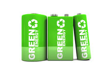 Double A, C And 9 Volt Green Energy Batteries Stock Image
