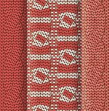 Double cabled knitted pattern red and white Royalty Free Stock Images