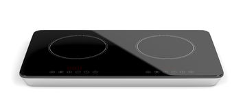 Double ceramic cooktop. On white background stock illustration