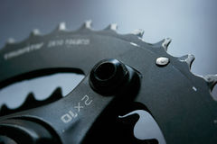 Double chainring of mountain bike Stock Photos