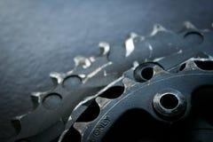 Double chainring utilisé du vélo de montagne Photographie stock