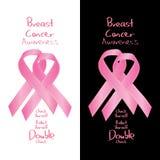 Double check för tecken för bröstcancermedvetenhetband royaltyfri illustrationer