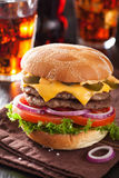 Double cheese burger with jalapeno tomato onion Stock Images