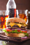 Double cheese burger with jalapeno tomato onion Stock Image