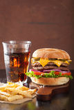 Double cheese burger with jalapeno tomato onion Royalty Free Stock Photos
