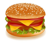 Double cheeseburger. Photo-realistic  illustration of the double cheeseburger isolated on the white background Royalty Free Stock Photography