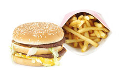 Double cheeseburger and french fries Stock Image