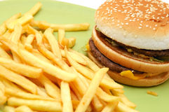 Double cheeseburger and Fries Stock Images