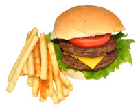 Double Cheeseburger And Fries Royalty Free Stock Photo