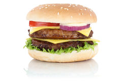 Double cheeseburger hamburger cheese isolated Stock Image
