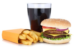 Double cheeseburger hamburger and french fries menu meal combo c Royalty Free Stock Photography
