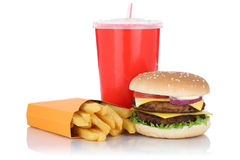 Double cheeseburger hamburger and fries menu meal combo fast foo. D drink isolated on a white background stock photos