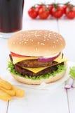 Double cheeseburger hamburger menu meal cola drink Stock Photo