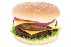 Double cheeseburger hamburger tomatoes lettuce cheese isolated Stock Images