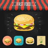 Double cheeseburger icon on a chalkboard. Set of icons and eco label. Flat design. Vector Royalty Free Stock Photo