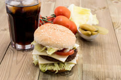 Double Cheeseburger with ingredients Royalty Free Stock Images