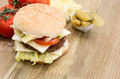 Double Cheeseburger with ingredients Stock Photo