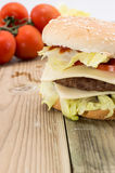 Double Cheeseburger with ingredients Stock Image