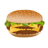 Double cheeseburger, isolated on white background, vector Stock Photography