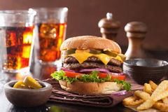 Double cheeseburger with jalapeno tomato onion Royalty Free Stock Photo