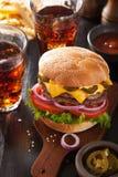 Double cheeseburger with jalapeno tomato onion Stock Photo
