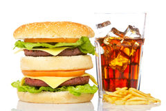 Double cheeseburger, soda and french fries Stock Image