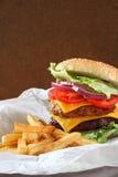 Double cheeseburger to go Royalty Free Stock Photos