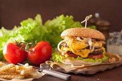 Double cheeseburger with tomato onion Stock Photos