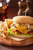 Double cheeseburger with tomato and onion Stock Images