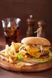 Double cheeseburger with tomato and onion Stock Image