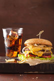 Double cheeseburger with tomato and onion Royalty Free Stock Photo