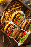 Double Cheeseburgers and French Fries Royalty Free Stock Photo