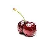 Double cherries. Against white background Stock Photography