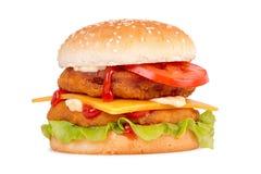 Double chicken hamburger on white background. Hamburger isolated on white background Stock Image